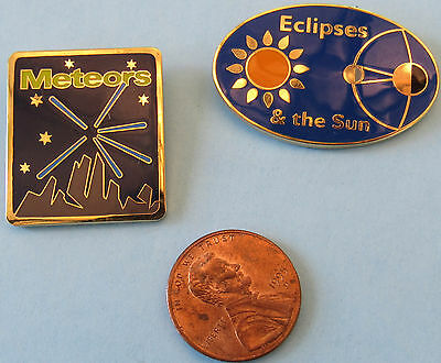 NASA PIN PAIR vintage Meteors Eclipses and the Sun SPACE