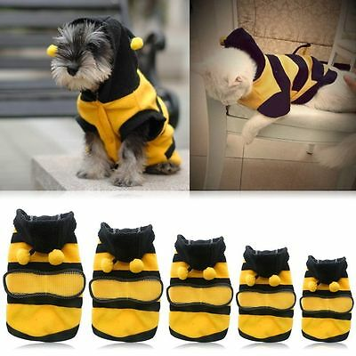 Cute Small Big Pet Dog Winter Warm Hoodie Coat Cat Puppy Bee Costume Apparel
