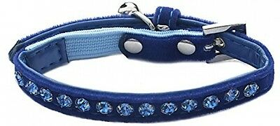 Catty Things Velvet Crystal Cat Collar, Navy Blue