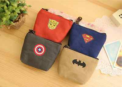 Canvas Super Hero Captain America Transformer Batman Coin Bag Pouch Wallet Case