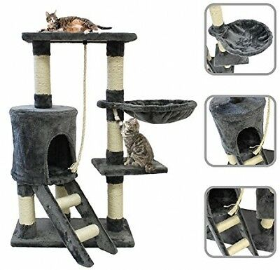 Cat Tree (Gray) With 90 Cm Natural Sisal Scratching Post And Accessories Rope,