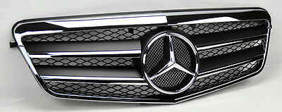 Mercedes E Class W212 10-13 2 Fin Front Hood Sport Black Chrome Grill Grille