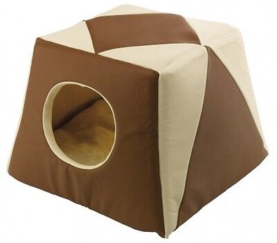 Ferplast Excelsior 20 Cat Bed Eco Synthetic Leather, 44 X 44 X 33 Cm, Brown