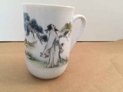 "Snow White China Tea Cup/Mug 4"" Hand Painted Excellent Condition"