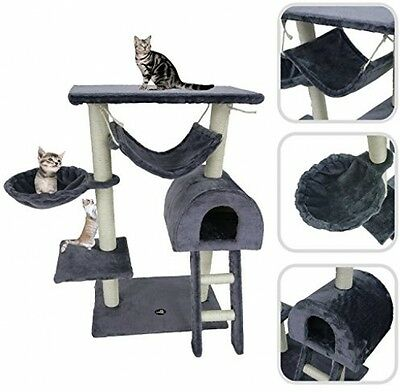Grey Cat Tree With Scratching Post ? Scratching Post Made Of Natural Sisal