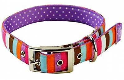 Yellow Dog Design Uptown Multi-Stripe On Polka Dot Dog Collar, Large, Purple