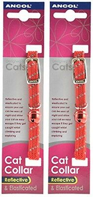 2 Pack Deal - Ancol - Reflective Softweave Cat Collar Red