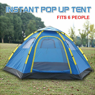 6 Person Instant Pop Up Camping Tent Easy Sets Up Hiking Camping Outdoor Blue