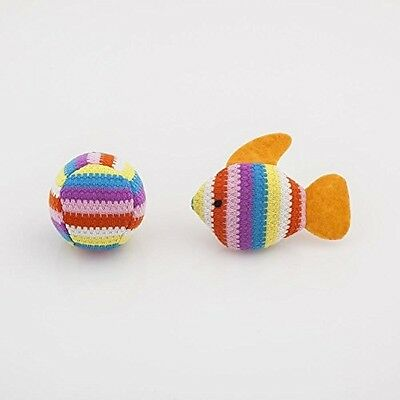 Blueberry Pet Toys For Cat Multicolor Stripes Fish And Ball 2-Piece Set Catnip