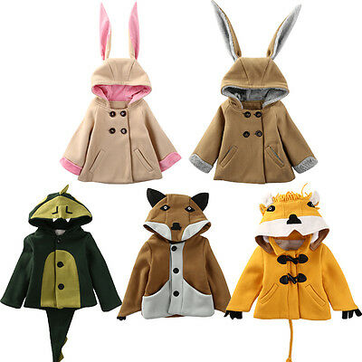 Toddler Kids Girl Boy Animals Rabbit Bunny Fox Lion Hooded Coat Jacket Outwear