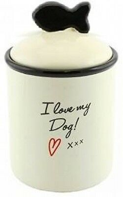 I Love My Dog Pet Snack Treats Food Jar Lid Storage Biscuits Ceramic Puppy New