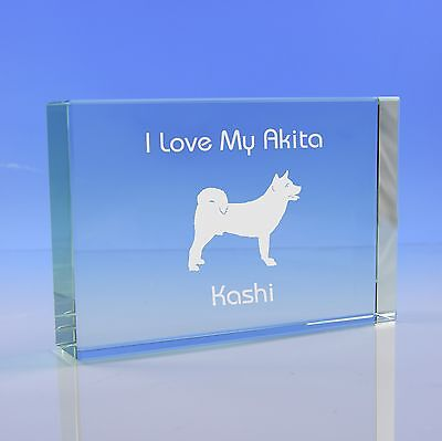 Akita Dog Gift Personalised Engraved Glass Paperweight Ornament