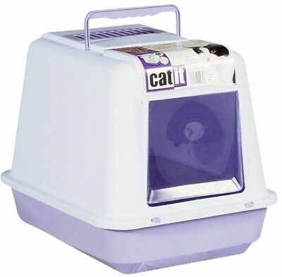 Catit 50932 Cat-Litter Box With Roof - Mottled Light Blue / Lilac