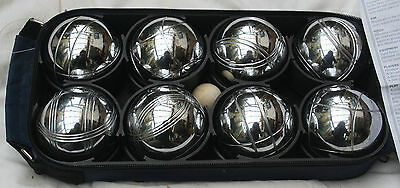 Boules / Petanque Set of 8 Steel French Boules in Navy Zip Case