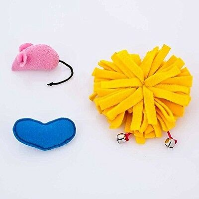 Blueberry Pet Toys For Cat Fleece Furry Ball + Felt Mouse + Felt Heart - Value