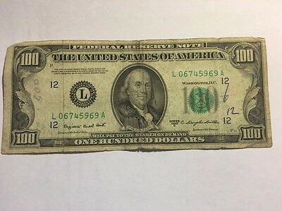 1950 C $100 Paper Dollar Bill Federal Reserve Circulated Banknote