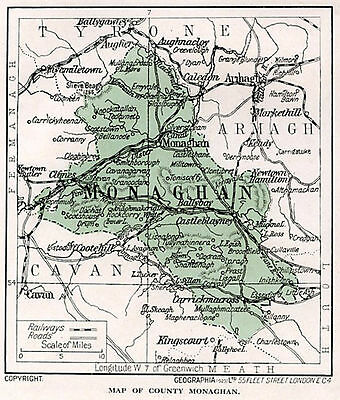 1923 map of Ireland: County Monaghan antique ready-mounted print SUPERB