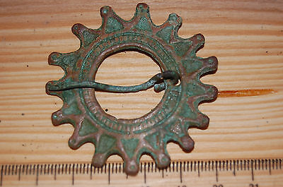 Ancient Viking Bronze Solar Fibula Brooch..perfect save..S