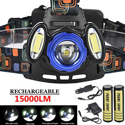 15000LM 3x XML T6 Rechargeable Headlamp HeadLight Torch USB Lamp + 18650&Charger