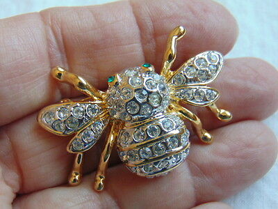 Vtg Bumble Bee Pin Brooch Rhinestone Crystal Bug Honey Estate Fly Insect OLD NBW