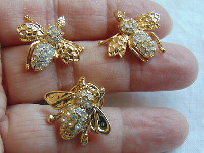 Vtg Bumble Bee Set Pin Earring Brooch Rhinestone Crystal Honey Estate Fly Insect