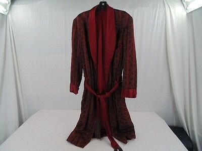 Vintage 1940's Hollywood Smoking Robe 100% Silk Deep Red
