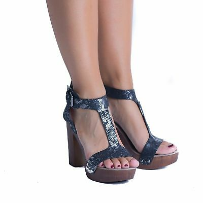 Womens Girls Ankle Strap Ladies Platform Chunky High Heel Sandals Shoes Size 3-8