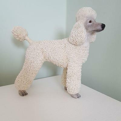 White Standard Poodle Dog Figurine Ornament Gift Boxed