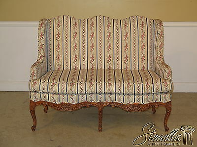 22975E: French Louis XIV Style High Back Upholstered Settee