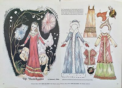 The Snowmaiden Paper Doll Uncut, By Patricia Wilks, 1987 Doll Reader Mag.