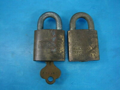 2 Vintage Eagle Locks Eagle Lock Co Terryville Conn. U.S. ARNFYCG With Key