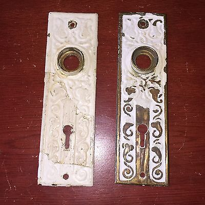 VTG Antique Pair Of Victorian Design Brass Door Knob Backplates