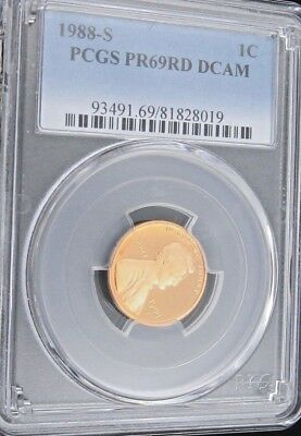 1988 S Proof Lincoln Memorial Cent - PCGS PR 69 RD DCAM Red Deep Cameo (8019)