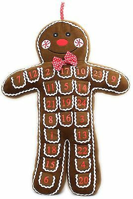 Plush Fabric Gingerbread Man Christmas Advent Calendar with Pockets