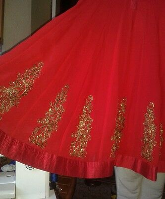 Women's girls red chiffon anarkali dress sz M / L see measurements
