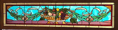 Exceptional Stained Glass Fruit Basket Transom Window