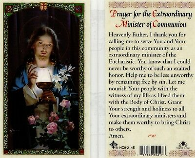 Prayer Card for Extraordinary Minister of Communion Catholic Laminated HC9-214E