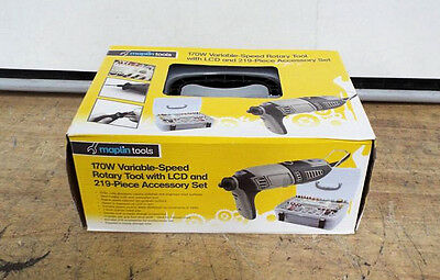 Maplin 170W Variable Speed Rotary Tool With LCD And 219 Piece Accessory Set New
