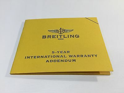 Booklet BREITLING 5 Year International Warranty Addendum - Warranty NOT included