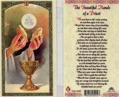 The Beautiful Hands of a Priest Prayer Card Catholic Laminated Cards HC9-208E