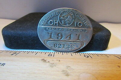 Rare Vintage 1941 Ohio Registered Chauffeur License Pin