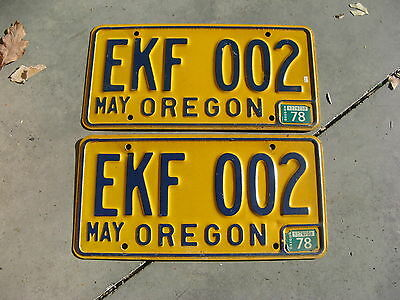 1978 78 Oregon Or License Plate Pair Set Amazing #ekf 002 Amazing A+++++