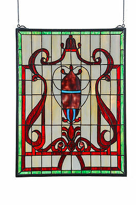 "Meyda 36196 18""W X 24""H Baroque Vase Stained Glass Window"