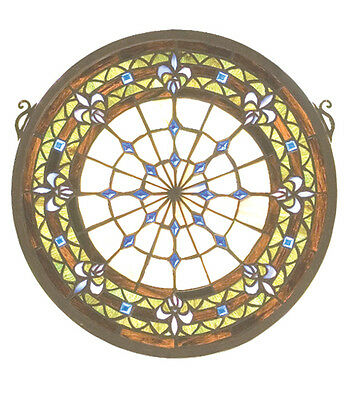 "Meyda 19809 13""W X 13""H Fleur-de-lis Medallion Stained Glass Window"