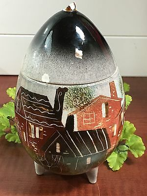VTG Sascha Brastoff Egg-Footed-Painted Houses-Signed & Numbered W/CHIPPED LID