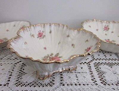 Vintage 1930's Crown Ducal England Roses Large Footed Bowl Gold Trim
