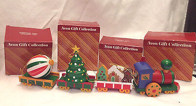 Avon Gift Collection Christmas Train Engine Cookie Tree Ornament Car Set Of 4