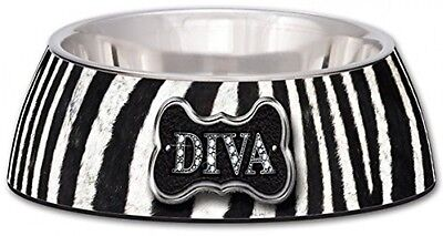 Loving Pets Diva Zebra Milano Bowl For Dogs And Cats, Small