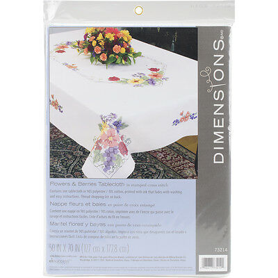 """Stamped Cross Stitch Tablecloth 50""""X70""""-Flowers & Berries"""
