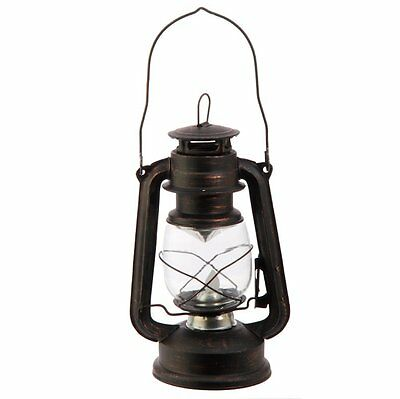 Black Metal and Glass Lighted LED Lantern Decor, 9.5 Inch #384223